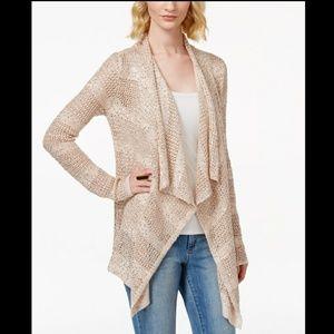 INC draped sequin metallic blush cardigan NWT S